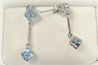 NEW WHITE GOLD BLUE TOPAZ STICK EARRINGS 14KT SOLID