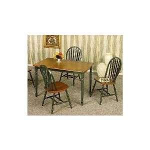 Dark Oak & Hunter Green Solid Wood 5 Piece Dining Set By