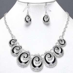 Chunky Elegant Silver Black Crystal Swirl Art Costume Jewelry Art