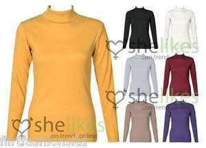 Long Sleeve Rib Polo Neck Tops Ladies Ribbed Stretch Turtle Jumper Top