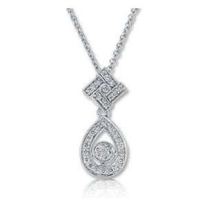 14k White Gold 1/8 Carat Diamond Tear Drop Necklace Jewelry