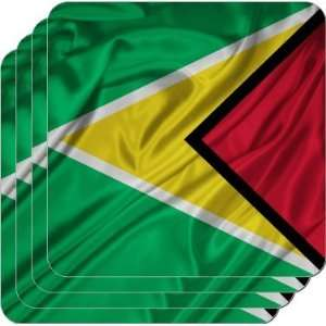Rikki KnightTM Guyana Flag   Square Beer Coasters   Drink