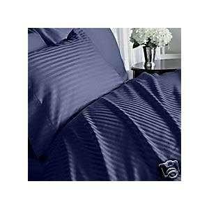 Stripe Navy Full/Queen Size Duvet Cover Set 600 Thread