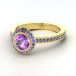 Roxanne Ring, Round Amethyst 14K Yellow Gold Ring with