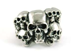 Gothic 10 Skull Heads Stainless Steel Ring R037