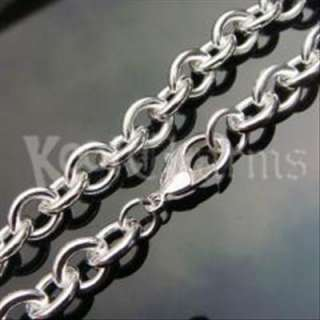 10mm 18 Mens Rolo Chain Silver Necklace Xmas Gift N24