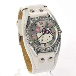 Hello Kitty Round Face Quartz Wristwatch Wide Band w/Rhinestones White