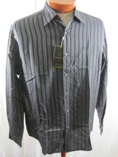 Joseph Abboud Gun Metal Grey Stripe Button Up Sport Shirt Sz XL NEW $