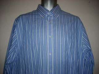Mens HACKETT London Blue & White Stripe Fine Italian Cotton Shirt Size