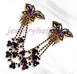 Purple crystal rhinestone wedding hair comb butterfly