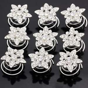 12 Bridal Wedding Clear Crystal Flower Hair Twists 662