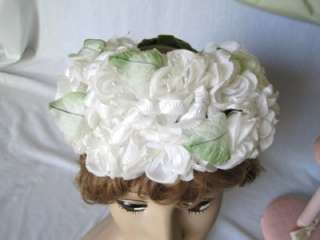 Vtg 50s 60s Ladies Hats,Orange Saucer,Floral Half Hat,Ivory Pleated
