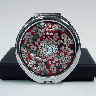 MOP Red White Flower Cosmetic Metal Round Pocket Compact Makeup