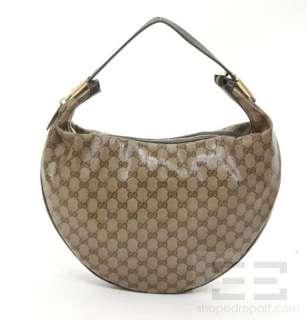 Gucci Brown Monogram Crystal Large Duchess Hobo Bag