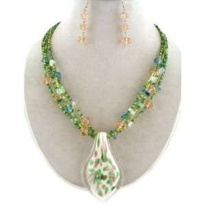Fashion Jewelry ~ Green Murano Glass Charm Beads Necklace and Earrings