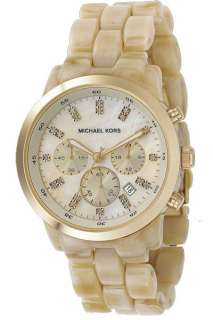 Michael Kors Chronograph Horn Mother Of Pearl Dial Womens Watch MK5217