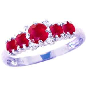 14K White Gold Five Stone Gem and Diamond Ring Ruby, size7