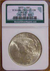 1922 Silver Peace Dollar NGC MS 64 Binion Hoard US Coin Free Shipping!