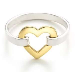Jewelry Sterling Silver Gold Vermeil Heart Link Ring   5 Jewelry