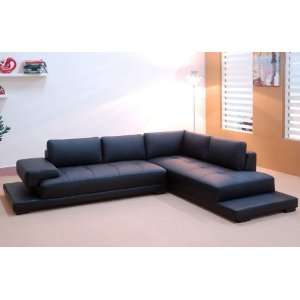 Contemporary Black Full Leather Sectional Sofa   RSF