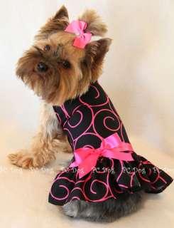 New Hot Pink Swirls Dog dress clothes pet Small