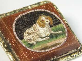 QUALITY ANTIQUE GOLD MICROMOSAIC SPANIEL DOG PIN BROOCH 1830
