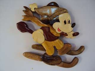 Hand Carved Wood Art Intarsia Mickey Mouse Ski Wood sign Wall Plaque