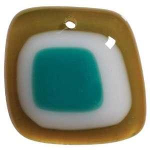 Modify Glass Pendant 1/pkg green/white/blue Square Arts