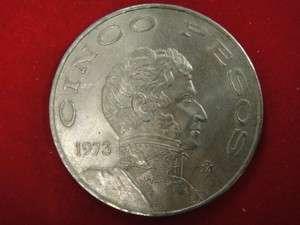 1973 Cinco 5 Pesos Beautiful Mexico Mexican Coin #X4