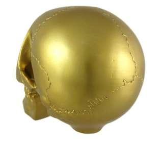 Metallic Gold Finish Human Skull Statue Figure