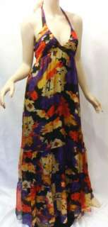 MISS ME MM Couture Silk Chiffon Halter Floral Long Maxi Dress M