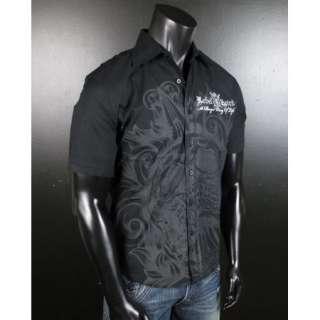 Mens REBEL SPIRIT WOVEN IMPALED SKULL Button shirt Short Sleeve