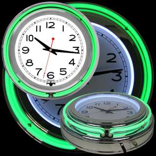14 Inch Double Ring Neon Clock Green Outer White Inner   Great Gift