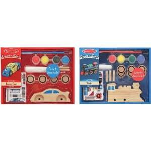 Melissa & Doug Decorate Your Own Train and Race Car Toys