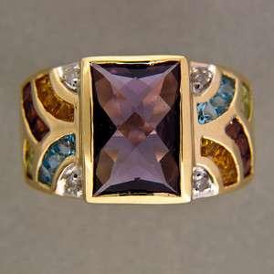 SQUARE AMETHYST GARNET CITRINE IOLITE DIAMOND 14K YELLOW GOLD RING