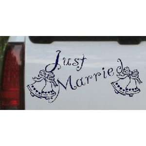 Just Married Car Window Wall Laptop Decal Sticker    Navy
