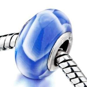 White Pale Blue Irregular Shapes Beads Fits Pandora Charm