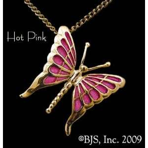 gold filled cable chain, Hot Pink Enamel, Butterfly Jewelry, 14 k gold