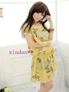 Fashion Lady Chiffon Butterfly Lotus Loose Cap Sleeve Casual Dress