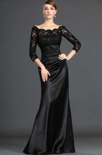 NEW Black Long Sleeve lace Wedding Bridal Gown/Evening Dress ★Free