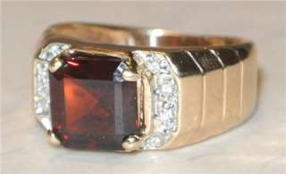 Mens 14K GOLD GARNET DIAMOND RING Vintage ESTATE JEWELRY Handsome 4g