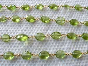 MM Natural Peridot Oval Silver Vermeil Link Chain