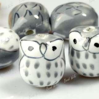 10 Gray Animal Owl Charm Ceramic Porcelain Beads PB0005