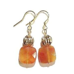 The Black Cat Jewellery Store Faceted Red Aventurine & Fluted Gold