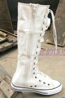 New PUNK Gothic Black White Canvas boots sneakers knee high