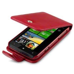 LEATHER FLIP CASE   RED, WITH QUBITS BRANDED MICROFIBER CLEANING CLOTH