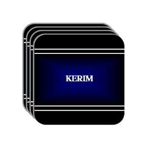 Personal Name Gift   KERIM Set of 4 Mini Mousepad Coasters (black