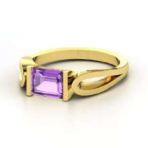 Loop de Loop Ring, Emerald Cut Amethyst 14K Yellow Gold