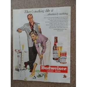 Budweiser Beer , Vintage 50s full page print ad. (man,woman playing