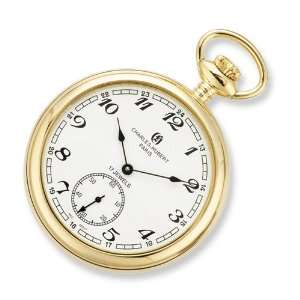 Charles Hubert Gold plated Stainless Open Face Pocket Watch Jewelry